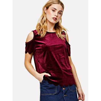 Cold Shoulder Velvet Tee