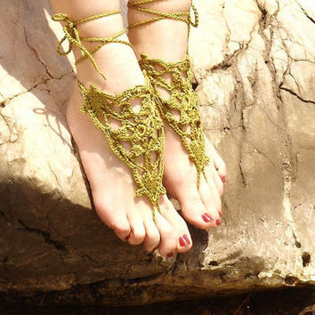 Crochet Khaki Barefoot Sandals Nude shoes  Foot by Lasunka on Etsy