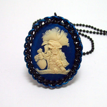 Pirate, necklace, chainmaille, jewelry, cameo jewelry, Gothic necklace, pendant.