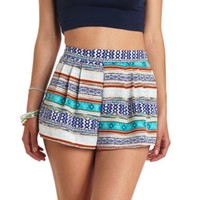 Pleated Tribal Print High-Waisted Shorts