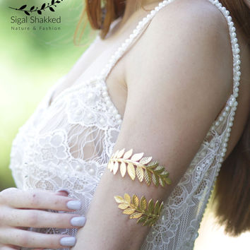 Upper Arm Cuff Bracelet Gold Leaves Arm Band Gold Leaf Bracelet  Greek Goddess Upper Arm Bracelet  Gold Arm Bangle bridesmaid gift