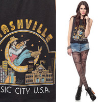 NASHVILLE Shirt 80s Tennessee Tank Top Music City USA Cutoff 1980s Moon Fiddler Black Faded Vintage Hipster American Extra Small Medium XS