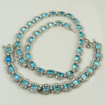 Signed Bogoff Sky Blue Emerald Cut Rhinestone Choker Necklace and Bracelet