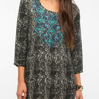 Ecote Graphic Embroidered Frock Dress