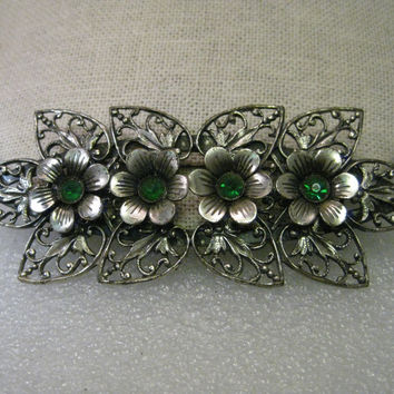 Vintage Silver Tone Edwardian Brooch - Filigree Floral - Green Stones, Raised Blossom - 4""
