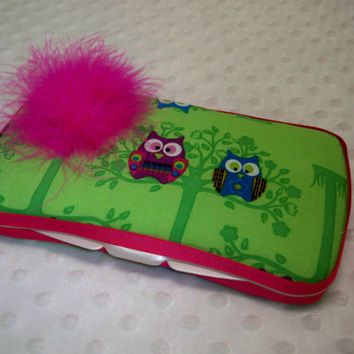 Owl Wipe Case - Boutique Style Baby Girl Wipe Case - Lime Green Multi-Colored Owl Print with Hot Pink Feather Puff Wipe Case