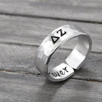 Delta Zeta Ring, Hammered Sorority Ring,personalized jewelry, hand stamped ring, handstamped jewelry, Sorority Jewelry