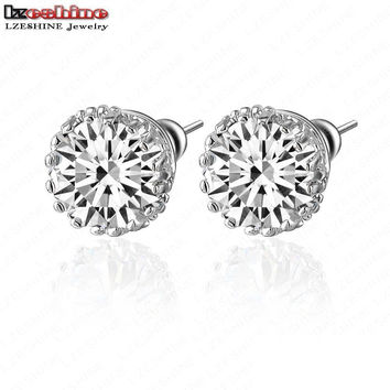 LZESHINE Small Round Stud Earrings AAA Multi Prongs 8mm 2ct Created Diamond Studs Earrings Jewelry boucle d'oreille CER0001