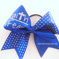 Faith over Fear Rhinestone Large Cheer Bow Hair Bow Cheerleading