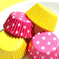 Mini Cupcake Liners in Pink Dot and Yellow by thebakersconfections