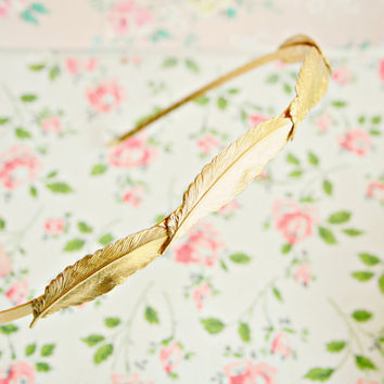 Four Little Feather 22K Gold Plated Headband