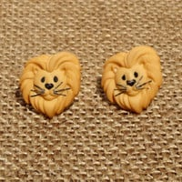 Lion Earrings Post Studs Tiger Earrings Stud Jewelry Orange Yellow Animal African Safari Wildlife