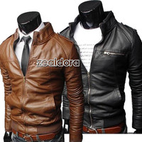 New Mens Fashion Slim Fit Zipper PU Leather Coat Jacket Size UK S M L Z00D