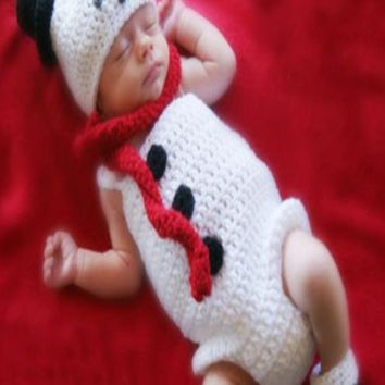 Snowman Costume Infant Baby Costume Knitted  Baby Crochet Outfit Photography Props Knit Baby - CC315