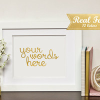 Real Gold Foil Print With Frame (Optional)-Custom Gold Print, Wedding Signs, Quote Prints, Housewarming Gift, Wedding Present, Nursery Decor