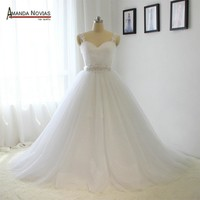 Wedding Gowns Cap Sleeve Lace Appliques Sequin Belt Wedding Dress Bridal Gowns