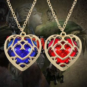 European And American Fashion Jewelry The Zelda Legend Heart-Shaped Crystal Necklace Alloy Gold Frame Free Shipping