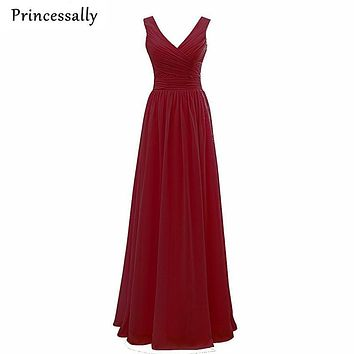 Bridesmaid Dresses Long Chiffon V neck Prom Dresses Cheap Floor Length Wedding Party Bridesmaid Gown Formal Burgundy Dress 2017