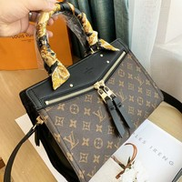 LV Louis Vuitton High Quality New Fashion Monogram Print Leather Shoulder Bag Handbag Women Black