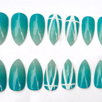 Summer Turquoise Aqua Gradient Ombre Fake Nails w/ Graphic nail art accent designs, 20 Press on stiletto nails
