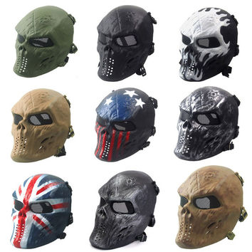 Airsoft Paintball Full Face Skull Skeleton CS Mask Tactical Military Halloween  Free Shipping
