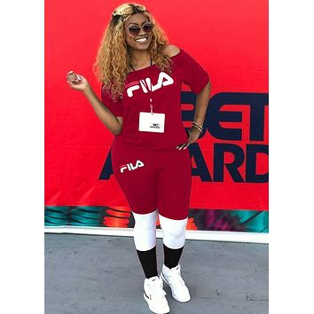FILA women's letter printing sports two-piece red