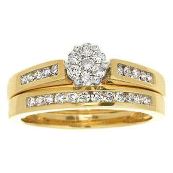 1/2 CT. Diamond Flower Bridal Engagement Ring Set in 14K Yellow Gold