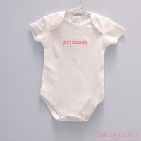 princess Baby Onesuit, Embroidered Word Onesuit
