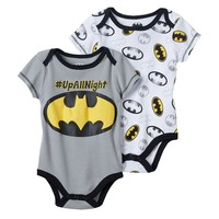 DC Comics Batman 2-pk. ''Hashtag Up All Night'' Bodysuits - Baby Boy, Size: