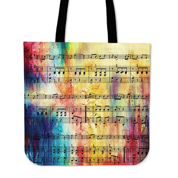 Rainbow Sheet Music Linen Tote Bag - Promo