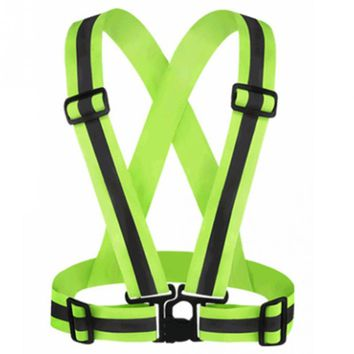 2018 High Visibility Neon Safety Vest Reflective Belt Safety Vest Fit for Running Cycling Sports Outdoor Clothes