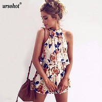 Floral Print Chiffon Playsuit Women  Summer Sexy Off Shoulder Halter Sleeveless Boho Rompers Jumpsuit Beach Party Overalls
