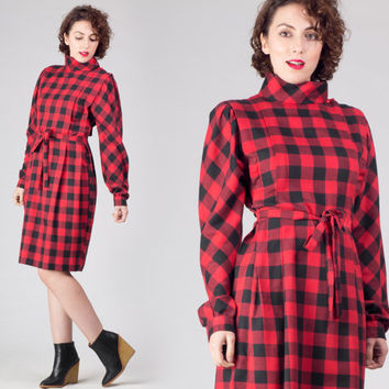 80s Plaid High Collar Dress / Red & Black Tartan Midi Dress / Check Pintuck Medium M Dress