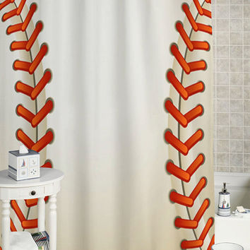 Baseball Texture Ball Shower Curtain custom showercurtain