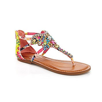 Gianni Bini Crowne Jeweled Flat Sandals - Multi