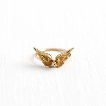 ESBUG7 Antique 10k Yellow Gold Diamond Wing Ring - Vintage Size 1 3/4 Art Nouveau 1910s Stick