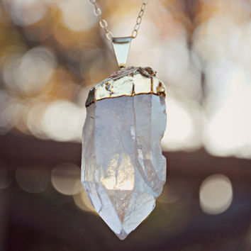 "Raw Crystal Quartz Point Necklace - Gold Plated with 18"" 14k Delicate Gold Filled Chain"