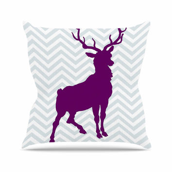 "Suzanne Carter ""Chevron Deer"" Purple  Outdoor Throw Pillow"