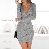 Gray Cutout-Back Long-Sleeve Asymmetrical Dress