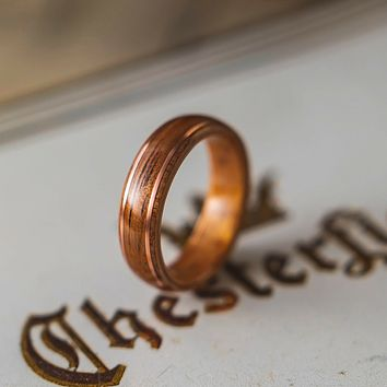 The Timeless Bentwood Ring - Koa Wood With Copper Inlay
