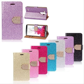 Luxury Bling Phone Shell Glitter Leather Case With Card Slots for iPhone 5 5c 6 6 Plus/Samsung Galaxy S4 S5 S6 S6 Edge/ Note 3 /4/LG G4 = 5987863041