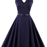 Atomic Dark Blue Halter Sleeveless Pin Up Dress