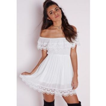 Missguided - Cheesecloth Crochet Trim Bardot Skater Dress White