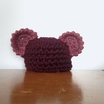 Newborn Girl Bear Hat - Crochet Ear Hat - Baby Girl Hats - Purple Baby Beanie - Chunky Crochet - Newborn Hats - Mouse Hat - Baby Girl Gifts