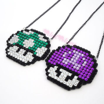 Sparkly Super Mario Poison Mushroom Necklace Skull Shroom - Crystal Rhinestone Encrusted Geek Chic - Custom Colours - Video Game Jewellery