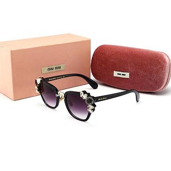 Miu Miu Trending Ladies Stylish Delicate Crystal Summer Sun Shades Eyeglasses Glasses Sunglasses Black Frame I-8090-YJ
