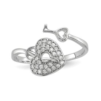 925 Sterling Silver Rhodium-plated Cubic Zirconia Heart Lock and Key Ring