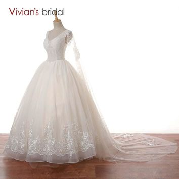 V Neck Cap Sleeve Beaded Lace Ball Gown Wedding Dress Cape Bride Bridal Dress See Through
