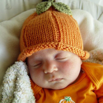 Hand Knit Orange Pumpkin Hat with Two Green Leaves and Brown Stem