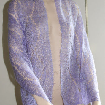 Hand Knitting Sparkly Lilac Long Shawl / Lilac Stoles /